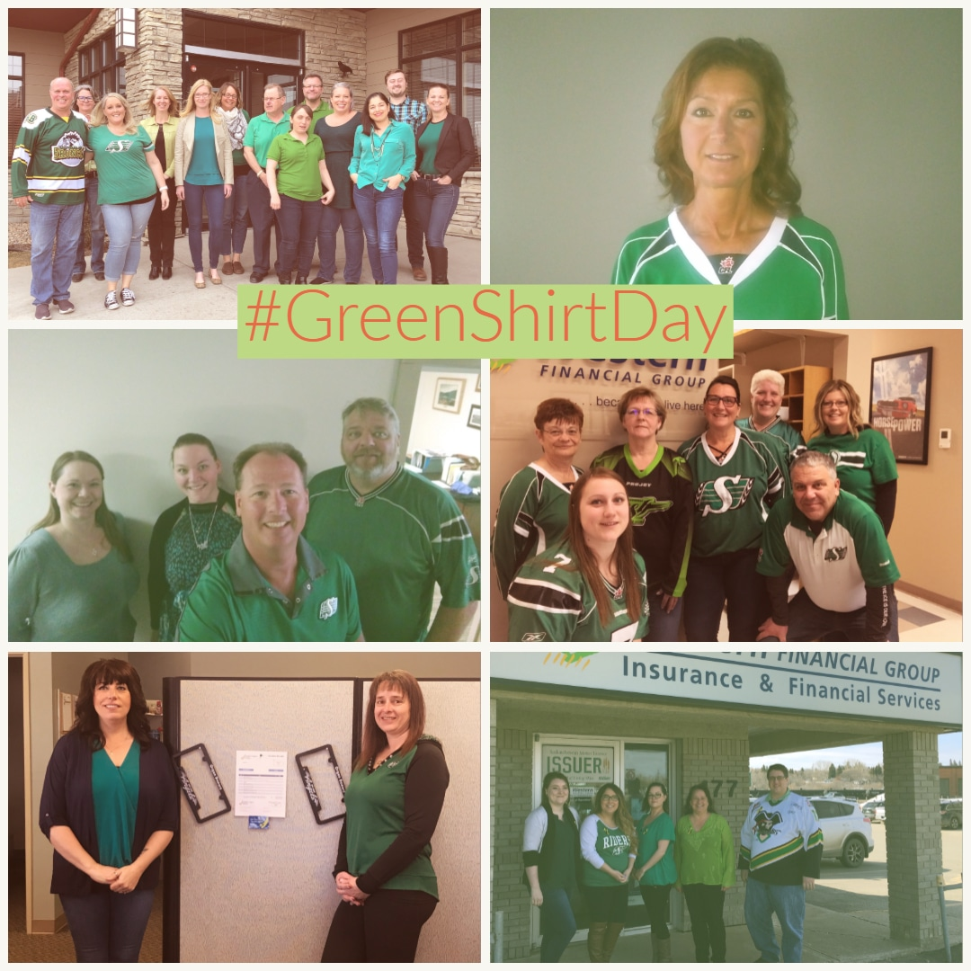 The Western Financial Group family wears green in honour of Green Shirt Day and the Logan Effect